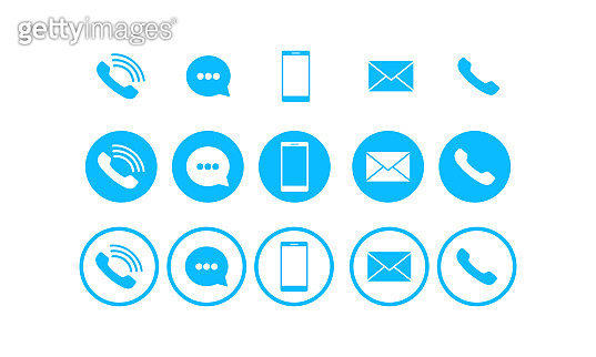 Set of communication icons set modern button. Phone, mobile phone, mail on isolated background for applications, web, application. Eps 10 vector