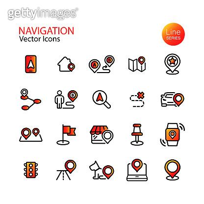 Set of line flat navigation icons. Map location, pin, destination, GPS, mobile phone, distance marker, traffic light. Vector on isolated white background. Eps 10