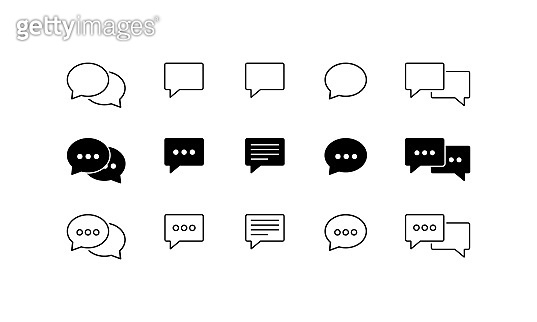 Speech bubble icon set. Vector on isolated white background. Eps 10.