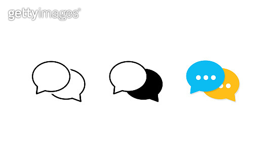 Speech bubble icon set. Chat, message, dialog. Vector on isolated white background. Eps 10.