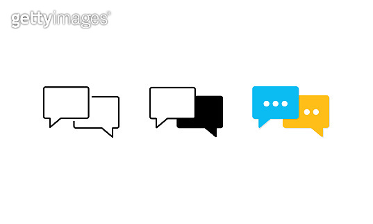 Speech bubble icon set flat. Chat, communicate or comment symbol. Vector on isolated white background. Eps 10