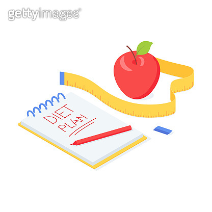 Diet plan isometric vector illustration with red ripe apple, measuring tape and notepad with sign.
