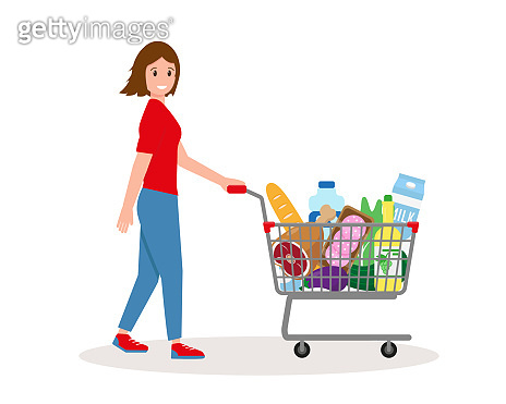 Young woman with shopping cart full of food and drinks. Vector illustration on white background.