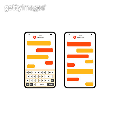 Social network messenger page template. Message chat bubbles vector icons on an isolated white background. EPS 10 vector