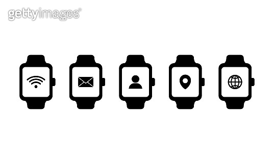 Smart watch and technology functions icon. With wifi, message, contacts, location and internet sign. Vector on isolated white background. EPS 10