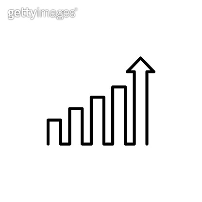 Growing graph icon in black. Chart with an upward trend arrow. Economy concept. Vector on isolated white background. EPS 10
