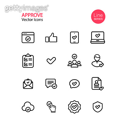 Approve line icon set. Editable Stoke. Tick, checklist, thumb up, pointing, quality control, certificate. Vector on isolated white background. Eps 10