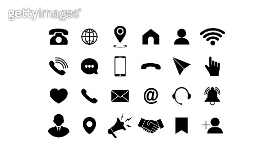 Set of communication icons. Phone, mobile phone, retro phone, location, mail and web site symbols on isolated background for applications, web, app. EPS 10 vector.
