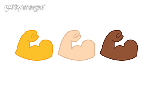 Flexible bicep muscle or strong workout icon set flat on isolated white background. EPS 10 vector
