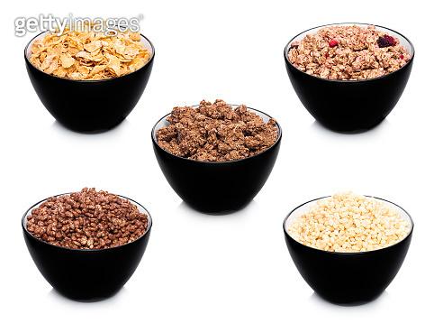 Black bowl with natural organic granola cereal