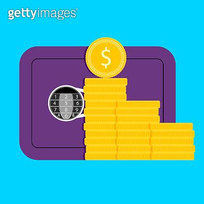 Safe money, deposit box and golden stack coins