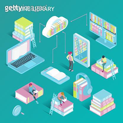 isometric online library illustration