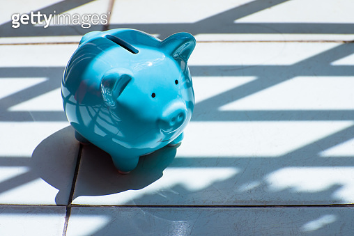 Blue piggy bank in bright sunlight