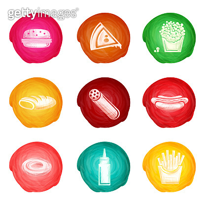 fast food watercolor icons 2