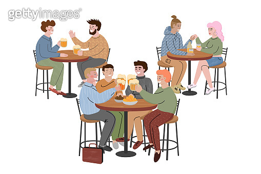 People sitting at the tables in a bar and drinking beer.