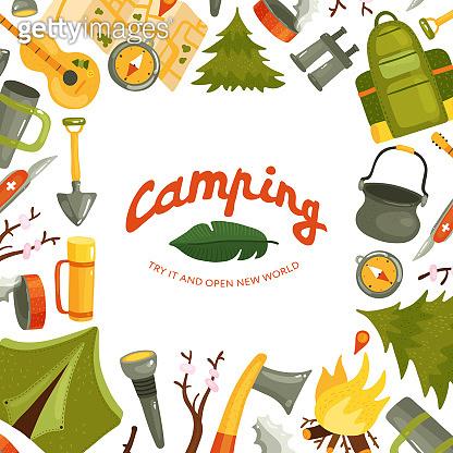 camping tourism equipment illustration