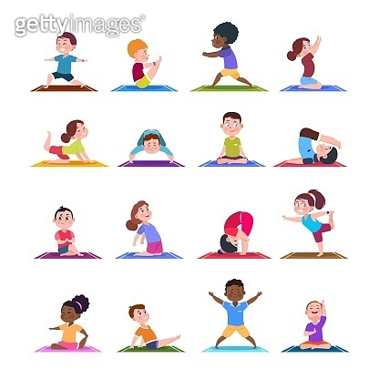 Children in yoga poses. Cartoon fitness kids in yoga asana. Vector characters isolated set
