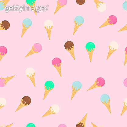 Colorful ice creams waffle cones seamless pattern. Summer dessert flat vector background. Delicious sweets for kids. Easy to edit template for birthday party decoration, wrapping paper, fabric, etc