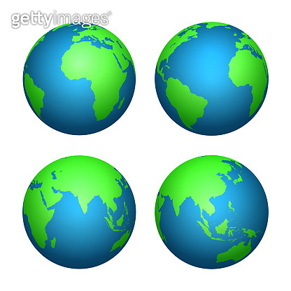 Earth 3d globe. World map with green continents and blue oceans. Vector isolated set