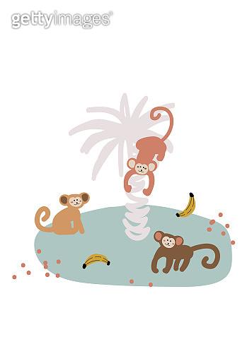 Cute cartoon monkey on island vector childish illustration.