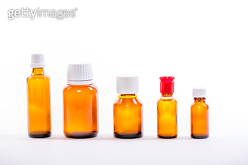 variation of empty medicine flacons. Concept of healthcare and medicine.