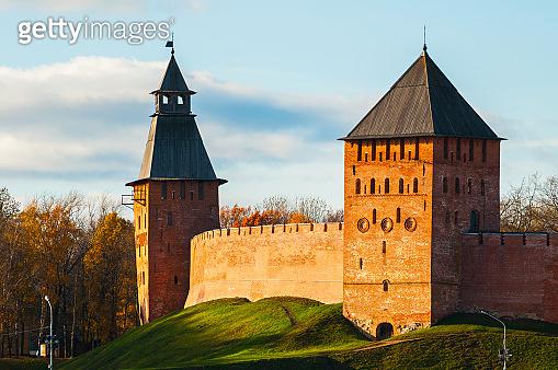 Veliky Novgorod, Russia. Kremlin towers at sunset in Veliky Novgorod, Russia