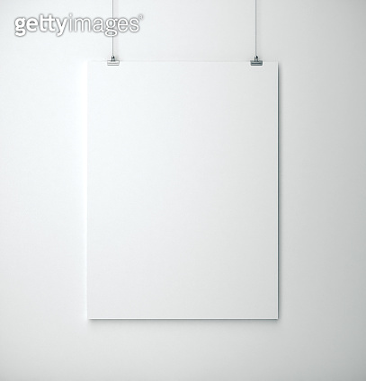 White placard on wall