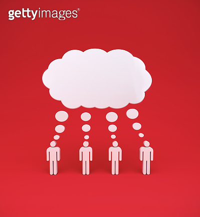 Mans with mindcloud on red background.