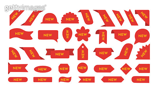 New sale tags and labels. Red label new vector set. Special shopping offer badge, product stickers.
