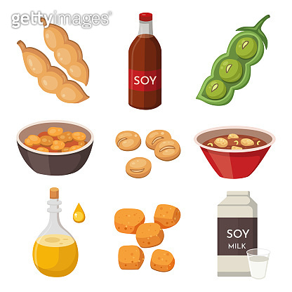 Vector Soya Products and Foodstuff: milk, oil, sauce, meat, tofu. Soy green pods and beans. Legumes sprouts cartoon flat illustration.