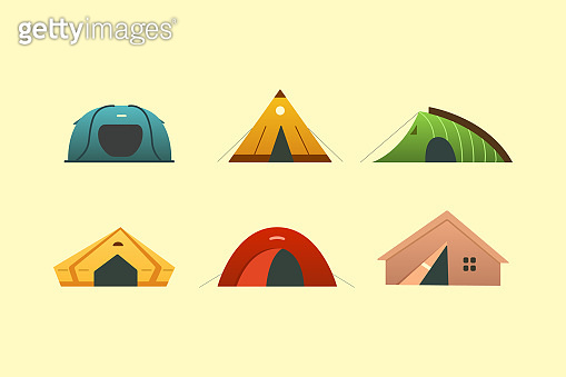 Different camping tent vector icons. Triangle and dome tourist outdoor house. Hiking and trekking camp tents for rest.