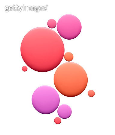 Pink orange and purple pipette round drops of liquid foundation fluid on white isolated background