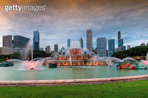 Chicago City skyline at twilight and Buckingham fountain