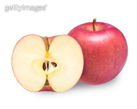 Red apples with leaves isolated on white background, Fresh red apple isolated on white With clipping path.