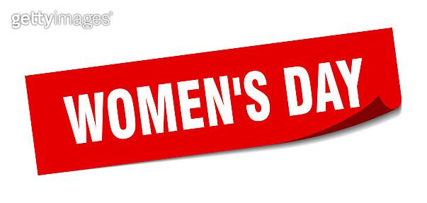 women's day sticker. women's day square sign. women's day. peeler