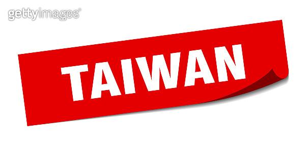 Taiwan sticker. Taiwan red square peeler sign