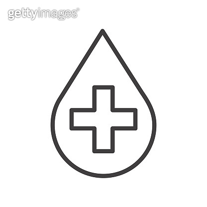 Water drop with a medical cross icon. Simple outline vector symbol.