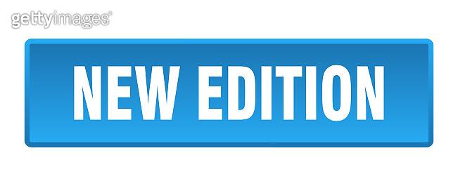 new edition button. new edition square blue push button
