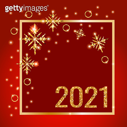 Happy New Year 2021. Banner with golden shiny numbers 2021 on a red background. Background with snowflakes and sparkles. Vector illustration