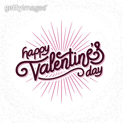 Valentines Day hand made lettering with burst rays. Holiday Vector Illustration. Lettering Composition And Light Rays Or Sunburst
