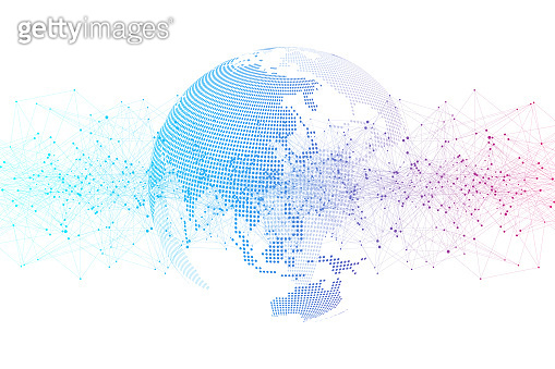 Global social network. Networking and data connection concept. Worldwide internet and technology. Dynamic waves connected by plexus light lines. Virtual digital composition. Vector illustration.
