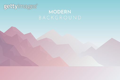 Mountains in the fog, Panorama, Abstract landscape, Vector banner with polygonal landscape illustration, Minimalist style