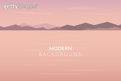 Sunset, day, morning in desert, mountains, Abstract landscape, Vector banner with polygonal landscape illustration, Minimalist style