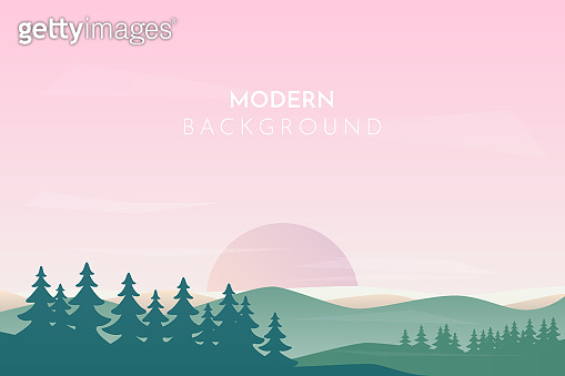Landscape banner with forest and mountain, fog, trees.