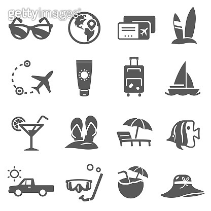 Summer travel icon, adventure and recreation tourism