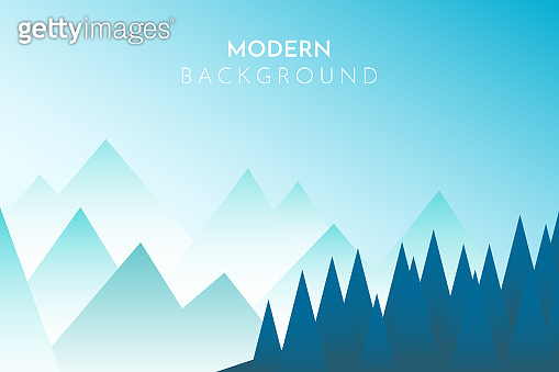 Peaceful landscape. Vector illustration. Minimalist style. Monotone colors. Wallpaper in the natural concept. Silhouettes of the mountains. Slopes, relief. Panoramic image. Multilevel mountain range