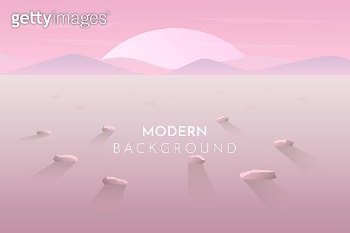 Sunset on the desert. Vector banner with polygonal landscape illustration - flat design