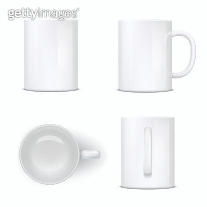 White mug, empty cup, ceramic tableware mockup