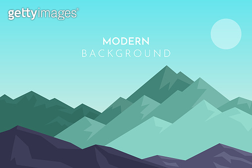 Mountain landscape, Tourist, travel background. Abstract landscape, Vector banner with polygonal landscape illustration, Minimalist style
