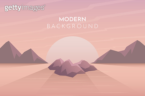 Sunset, night, morning in desert, mountains, Abstract landscape, Vector banner with polygonal landscape illustration, Minimalist style